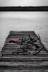 Old Summer (endresárvári) Tags: water hungary lake tata bw monochrome bicycles bikes selectedcolor pier tataitó