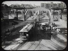 Traffic on Victoria Bridge, Brisbane, Qld - circa 1920 (Explore #86) (Aussie~mobs) Tags: tram traffic horseandcart bridge victoriabridge brisbane city queensland vintage australia 1910 glasslanternslide aussiemobs