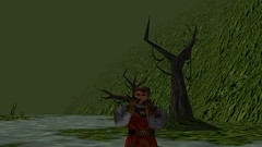Blossom Blushing (Chainmail Suit) (BarricadeCaptures) Tags: kingsquest kingsquestmaskofeternity maskofeternity theswamp swamp connorofdaventry connor chainmail chainmailsuit flower blossom water trees gamescreenshots gamephotography videogame screencapture screenshot
