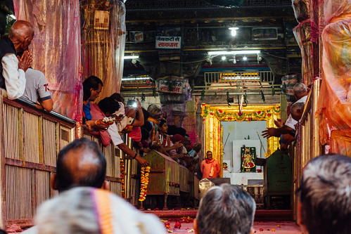 Praying to Vishnu in Temple, Uttar Pradesh India