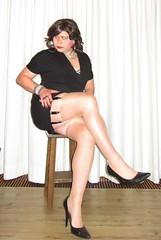 posing in the little black dress again (Barb78ara) Tags: lbd littledress littleblackdress blackpumps highheels stilettoheels stilettopumps stockings stockingtops tanstockings tannylon shinynylon shinytannylon garterbelt eightstrapgarterbelt