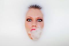 Cleopatra (CoolMcFlash) Tags: person portrait woman milk smoke smoking face white background bath canon eos 60d frau milch rauch rauchen gesicht weis hintergrund bad fotografie photography tamron a007 2440