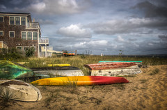 Near the beach at Provincetown Harbor (donnieking1811) Tags: massachusetts provincetown provincetownharbor beach kayak boats sand house outdoors sky clouds hdr canon 60d lightroom photomatixpro