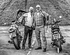 Two Distinguished Gentleman (Missy Jussy) Tags: trevorkerr prostratecancer mensmentalhealth prostratecancerawareness suicideawareness mentalhealthawareness men bike motorbike event distinguishedgentlemansbikeride triumphbonnevillet120black mono monochrome blackwhite bw blackandwhite portrait people canon nortoncommando961sportcarbon 50mm ef50mmf18ll ef50mm fantastic50mm canon50mm 5d canon5dmarkll canon5d canoneos5dmarkii