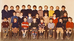 Class photo (theirhistory) Tags: child kid boy teacher jumper shirt trousers shoes wellies jeans shorts rubberboots