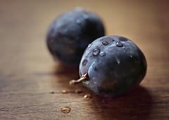 Blue Plums (Through Serena's Lens) Tags: 2dwf twotogether blueplums fruit closeup waterdroplets dof bokeh stilllife tabletop canoneos6dmarkii