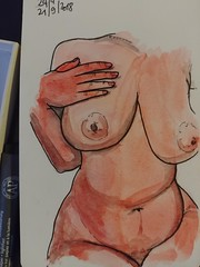 Peau rouge (geofroi) Tags: drawing watercolor painting erotic nude boobs tits red sketchbook sketch notebook