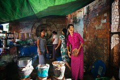 Yangon Kitchen (Crossing China) Tags: myanmar asia seasia girl boy man handsome beautiful street streetphotography streetportraits streetportrait streetfood shadows light night smoke yangon rangoon burma