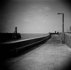 Photo (JB Darasco) Tags: facebook jb darasco photo rouen le havre lomo lomography diana tmax stand rodinal epson v850 mer sea fécamp normandie normandy france cliff falaise bw nb digue diy bateau boat