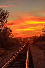 Train Track Sunset (http://fineartamerica.com/profiles/robert-bales.ht) Tags: fineart flickr gemcounty haybales idaho land people photo photouploads places states sunsetorsunrise concept line steel background perspective track landscape sunset transport railroad rail travel sky journey railway train iron road sun industry nature transportation path light outdoor orange horizon evening dusk scene sunrise sundown fantasy dream serenity cloudy yellow beautiful industrial fantastic sunlight dramatic cloudscape vintage abstract commercial emmett trees vertical