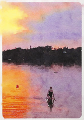 Swimming in the lake at dusk during a late summer evening (thstrand) Tags: adult adultfemale adults agegroups aquarelle art arts artwork backgrounds bathingsuit bathingsuits brightcolors color colorful complementarycolors coolingoff dusk earlymorning evening eveningswim hot impressionism impressionist impressionistic lake lakes oneperson orangeandpurplecolors outdoors outside painting recreation recreationentertainment river rivers scene scenicview scenicviews seasons summer sunrise sunset sunsets swim swimmer swimmers swimming swimsuit swimsuits takeadip takingadip visualarts wading walkinginthewater water watersports watercolor watercolorpainting watercoloronpaper watercolors watercolour woman women yellowandpurplecolors