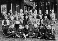 Class photo (theirhistory) Tags: child kid boy teacher jumper shirt trousers shoes wellies jacket wellingtons