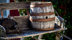 Barrel on a buckboard (Vurnman) Tags: california norcal nevadacounty nevadacity fallphotowalk smalltown autumn barrel buckboard weathered wood