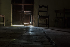 Trough the light (wesp2011) Tags: chairs light door floor reflection room broken old maintenance paintold scratches