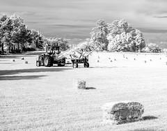 Hay Harvest IR (Neal3K) Tags: tractor hay harvest bw ir infrared kolarivisionmodifiedcamera haybale