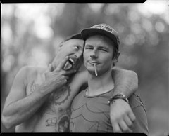 marcus and andrew (Garrett Meyers) Tags: graflexseriesd4x5 garrettmeyers garrett meyers largeformat portrait blackandwhitefilm graflex4x5 graflex 4x5film graflexphotographer bmx trails friends woods bikes dirtjumps homedeveloped marcusobrien jeremykaiser andrewbentley