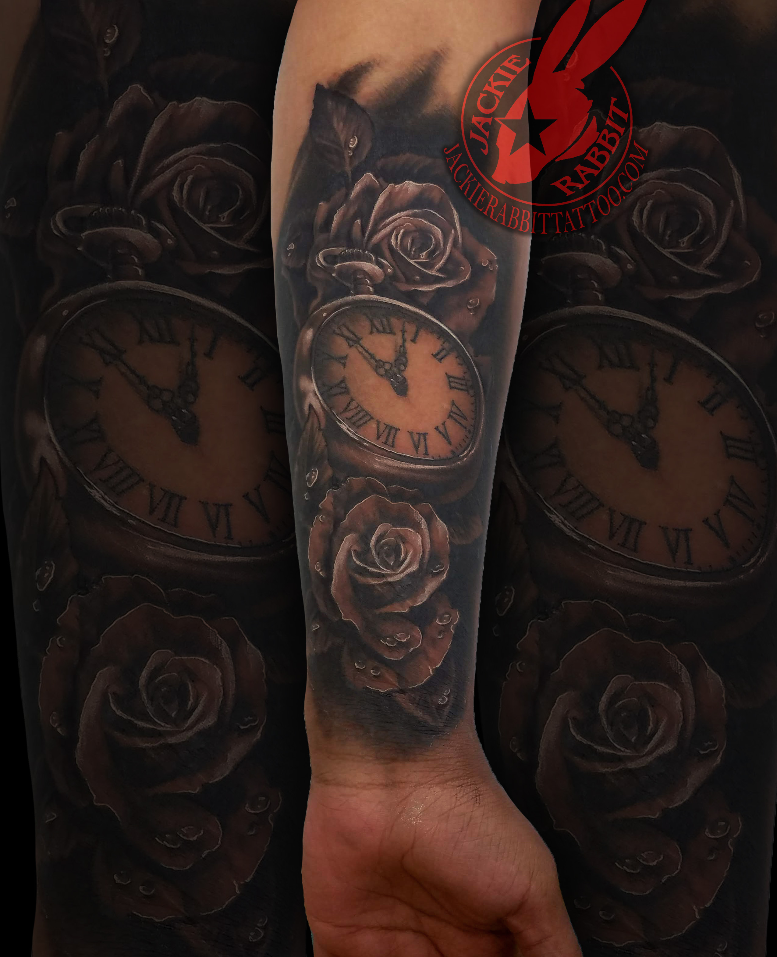 33dbadeee ... Sleeve Tattoo by Jackie Rabbit Realistic 3D Real Rose Roses Pocket  Watch Pretty Beautiful Black and Grey Tattoo by Jackie Rabbit ...