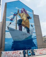 """""""Melody"""" Monumental Building Facade Mural (2017) by Redl, Limmatstrasse 291, Zurich, Switzerland (jag9889) Tags: 2018 20180908 architecture art artwork boat building ch cantonzurich cantonofzurich city escherwyss europe fczuerich fczürich fcz facade flag fussballclubzürich girl graffiti helvetia house kantonzürich kreis5 monumental mural outdoor painting paper sailboat schweiz sea ship stadtzürich streetart suisse suiza suizra svizzera swiss switzerland tagging vessel woman zh zurich züri zürich jag9889"""
