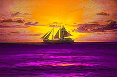Barbados Sailing (Rusty Russ) Tags: barbados sailing pirate ship sunset ocean purple yellow colorful day digital art graffiti window flickr country bright happy colour eos scenic america world beach water sky red nature blue white tree green light sun cloud park landscape summer city people old new photoshop google bing yahoo stumbleupon getty national geographic creative composite manipulation hue pinterest blog twitter comons wiki pixel artistic topaz filter on1 tinder russ seidel artist outside