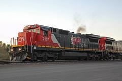 CN 2107 throttles up (AndyWS formerly_WisconsinSkies) Tags: train railroad railway railfan canadiannational cn ge c408 dash8 locomotive