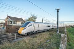 LNER Class 800 IEP 800107 (Barry Duffin) Tags: train railway hitachi azuma class800 800107 lner iep iet london doncaster retford 5x91 ecml nikon d500 18mm railroad grass sky signalbox