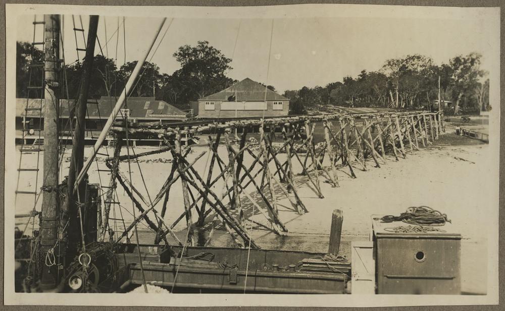 Tramway at the Bribie Island jetty, ca. 1920.