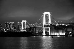 Odaiba, Tokyo, Japan (runslikethewind83) Tags: tokyo pentax asia monochrome blackandwhite bridge rainbowbridge odaiba bay city urban