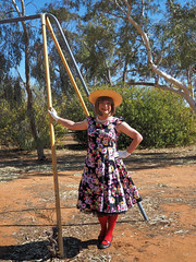 Outback Florals (justplainrachel) Tags: justplainrachel rachel cd tv crossdresser transvestite floral retro vintage dress red tights hat gloves nsw outback australia