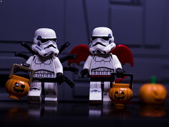 Halloween on the DeathStar (Jezbags) Tags: halloween deathstar stormtrooper stormtroopers trooper troopers lego legos toy toys starwars pumpkin trickortreat dressup spider devil wings macro macrophotography macrodreams macrolego canon canon80d 80d 100mm