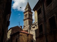 Vodnjan (rsvatox) Tags: colours cathedral street bird city buidings croatia sky architecture clouds