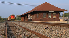Flying to a stop (GLC 392) Tags: emd sd60 5451 cn canadian national railroad railway train manistique mi michigan upper peninusla depot station soo line l543