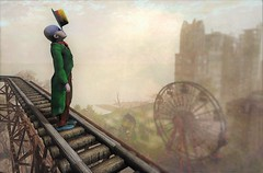 Top Of The World (ᗷOOᑎᕮ ᗷᒪᗩᑎᑕO) Tags: deapool clown landscape flickr sl secondlife city urban dirty old town rollercoaster track windlight arty art