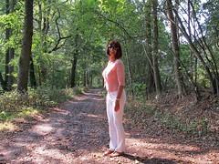 Friend (Paula Satijn) Tags: sexy hot girl pink white pants forest woods outside fun joy happy elegant feminine girly girlie cute pretty smile