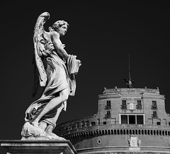 Angel at the Castle Sant' Angelo (chrisogru) Tags: blackwhite bnw bw angel italy zuiko omd olympus rome rom