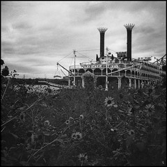 The American Queen (argentography) Tags: americanqueen rolleiflex 622 zeiss tessar ilford hp5 peoria illinois midwest steamboat mississippi river
