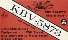 Venus - Fremont, California (73sand88s by Cardboard America) Tags: qsl cbradio vintage cb qslcard california water scuba mason