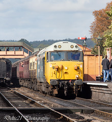 20181004-IMG_2495 (deltic21) Tags: severn valley railway svr severnvalley preserved preservation diesel power traction heritage classic transport wheel wheels motion loco locos locomotive train trains rail rails track tracks br british type class restored restoration moving railways trees outdoor outside nature bewdley kidderminster bridgenorth shropshire worcestershire midlands engine clag 50015 50 alliance valiant log hoover large logo ee english electric blue sunshine skies station