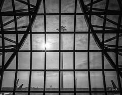 en passant par KL (Jack_from_Paris) Tags: r0003255bw ricoh gr apsc 28mm capture nx2 lr monochrom noiretblanc street bw wide angle bangkok stop over airport aéroport transport thailande voyage travel structure lumière light sun soleil nuages architecture lignes lines tour de contrôle