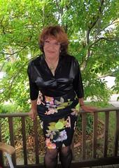 3-D Laurette Coming At You In 2-D (Laurette Victoria) Tags: blouse bosom laurette woman skirt auburn
