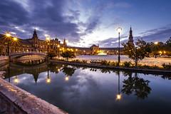 Plaza de España, Seville (darkmavis) Tags: andalucia andalusia architecture building canal landmark longexposure naboo plaza seville siviglia sivilla spagna spain starwars tower travel water