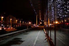 View of the bridge from the store. (Serge Goodman) Tags: omsk russia brige reflection mirror night city october 2018