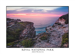 Cliff tops and crevices of Royal National Park (sugarbellaleah) Tags: australia nationalpark cliffs headland sandstone crevice ocean sky sunrise dawn colours pink red yellow waves seascape bushes heath rock royalnationalpark scenery picturesque travel tourism bushwalk adventure hike nature flora