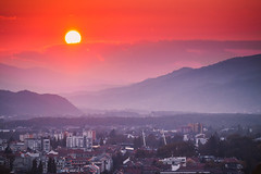 Sunset over Maribor city