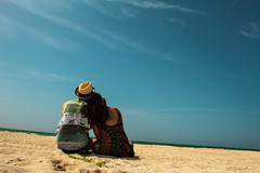 Love (srolocnu) Tags: beach couple sea sand blue sky ocean love