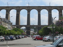 Bretagne - Brittany. The viaduct (viaduc) of Morlaix (Traveling with Simone) Tags: viaduc road railroad tall architecture bridge pont viaduct houses cars sky car voitures voiture bretagne brittany morlaix france côtesdarmor