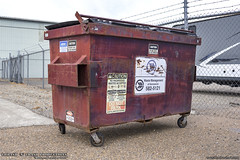 Waste Management (Thrash 'N' Trash Prodcutions) Tags: garbage trash refuse container dumpster bin can metal old classic burgundy wm wmx wmi wastemanagement wmxtechnologies wmiservices sanitation recycle recycling disposal waste collection