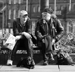 Father and Son? ... Or Just Characters! (captures.in.time) Tags: street leith edinburgh scotland lothian bench sit talk father son leather tracksuit cap streetphotography candid dog
