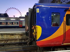 London Waterloo on a gorgeous June evening, with two Class 455s and a Class 444 sitting under the London Eye. (Conner Nolan) Tags: class444 class455 southwesternrailway londonwaterloo londoneye
