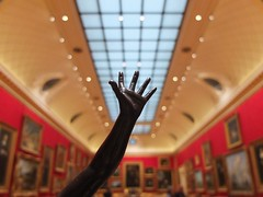 Wallace Coll. 14oct18 (richardbw9) Tags: london sculpture figure uk interior westminster manchestersquare wallacecollection art museum gallery picture painting frame statue silhouette arm hand fingers reach skylight ceiling red wallpaper thumb wrist hertfordhouse