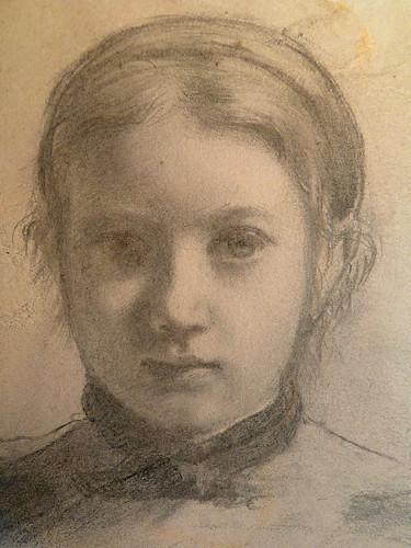 DEGAS Edgar,1858-67 - La Famille Bellelli, Giovanna, Etude (Louvre RF16585) - Detail 04